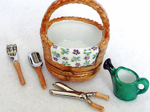 Limoges collectible gardening basket