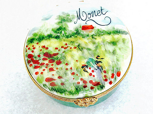 "Monet's ""Poppy Fields"" Limoges hand painted porcelain box"