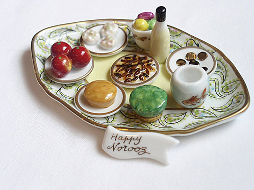 Limoges miniature Norooz Haft Seen tray