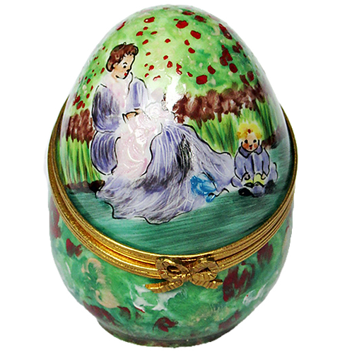 "MONET ""MOTHER AND CHILD"" LIMOGES EGG"