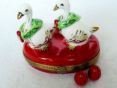 Limoges porcelain Christmas geese