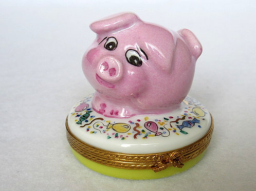 Limoges handpainted piglet box