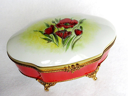 XL Limoges porcelain hand painted jewelry box, poppies design