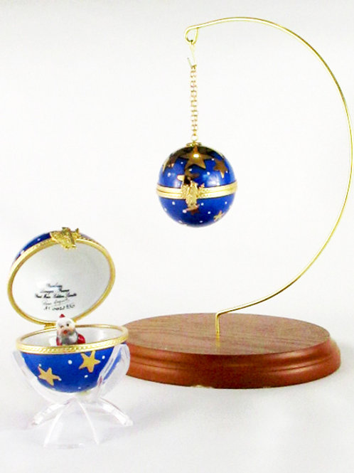 "CHRISTMAS LIMOGES ORNAMENT ""BLUE"""