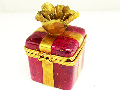 Purple and gold Limoges porclain mini gift box with gold bow