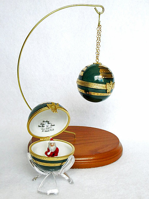 "CHRISTMAS LIMOGES ORNAMENT ""GREEN"""