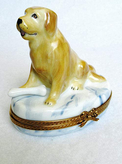 Beige Labrador retriever Limoges porcelain box