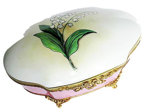 """""""ALBA"""" LILLY OF THE VALLEY"""" XL LIMOGES JEWELRY BOX"""