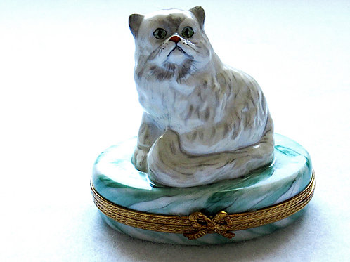 Persian Cat Limoges hand painted porcelain collectible box