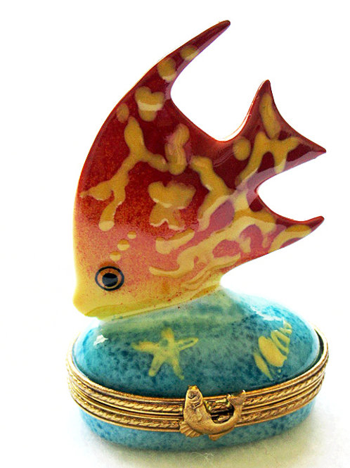 Limoges collectible coral fish hand painted box
