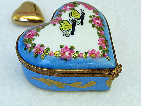 Limoges hand painted porcelain box, butterflies design