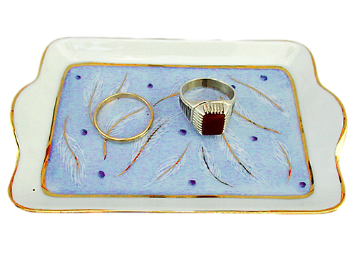 TRAY, BLUE-GOLD, LIMOGES