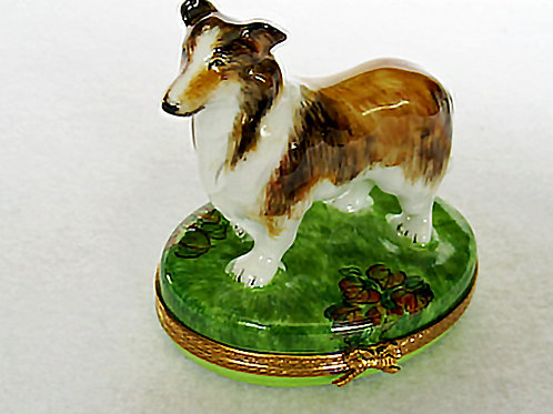 Collie Limoges hand painted hinged box