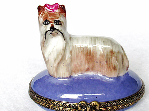 Limoges porcelain Yorkshire Terrier hand painted box