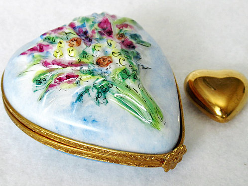 Limoges hand painted heart box