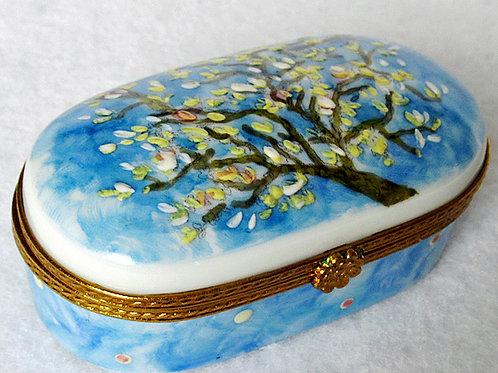 Van Gogh, Almond blossom Limoges hand painted porcelain box