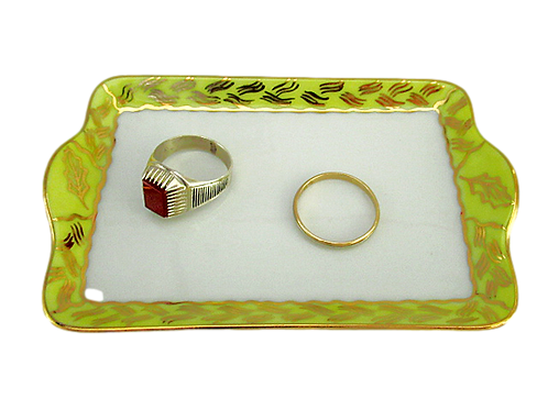TRAY, YELLOW-GOLD, LIMOGES