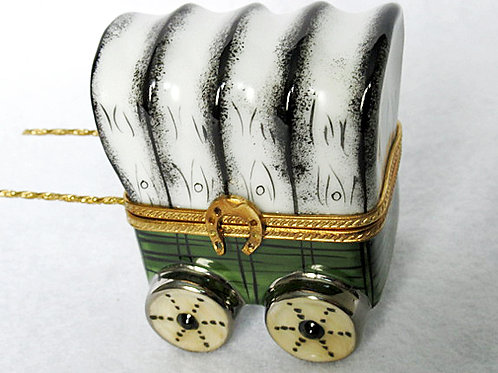 WAGON HANDPAINTED LIMOGES BOX