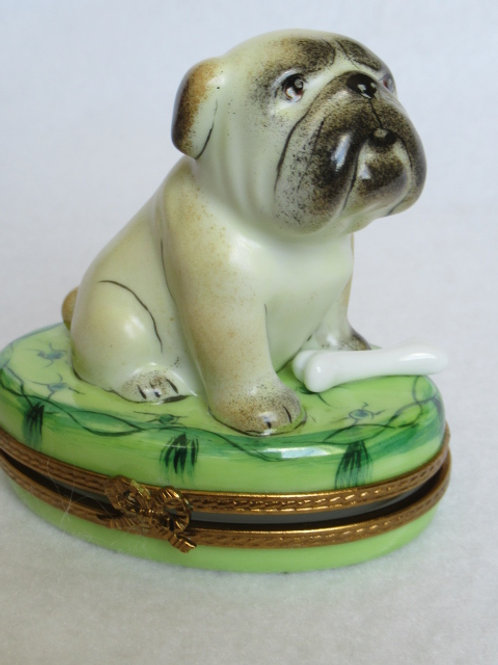 Limoges porcelain PUG hand painted box