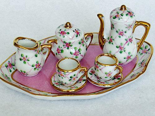 Limoges miniature pink tea set