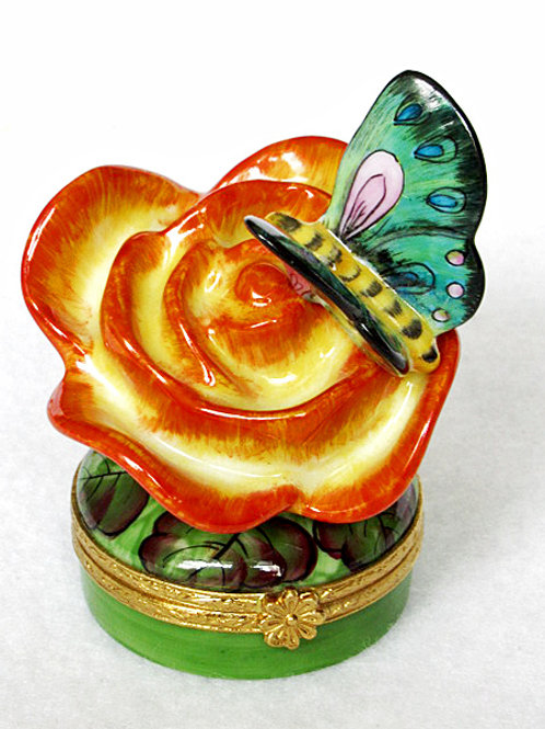 Limoges rose and butterfly