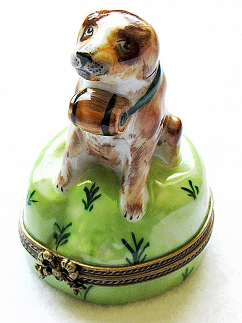 Saint Bernard Limoges porcelain box