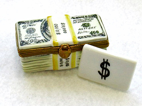 Collectible Limoges hand painted porcelain box of wrapped US$ bills.
