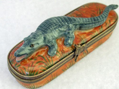 Limoges porcelain hand painted Alligator box