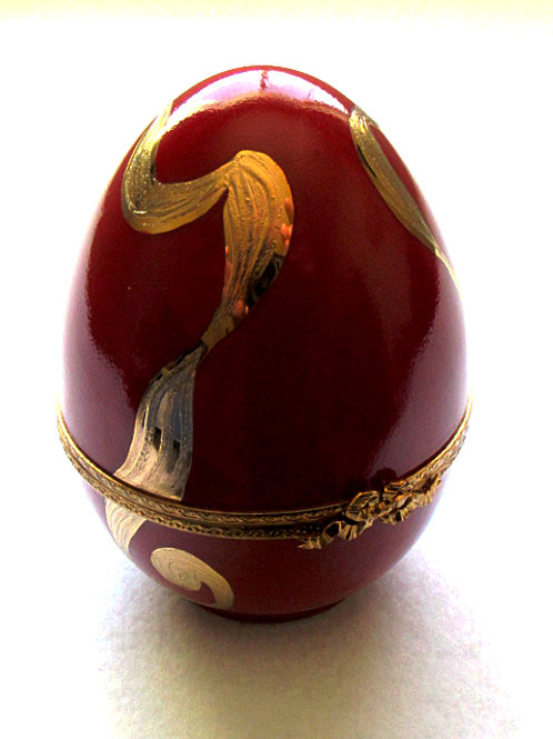 Limoges porcelain hand painted XL red egg