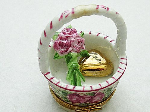 Limoges porcelain flowers basket