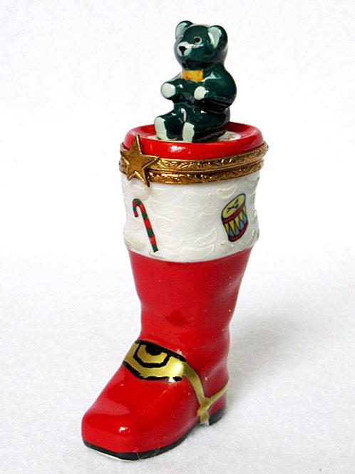 Limoges porcelain Santa's boot