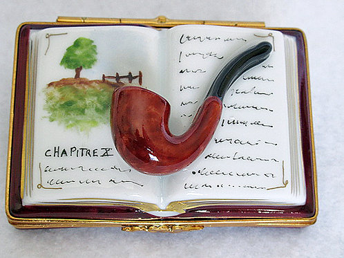 Coillectible French Limoges book and pipe box