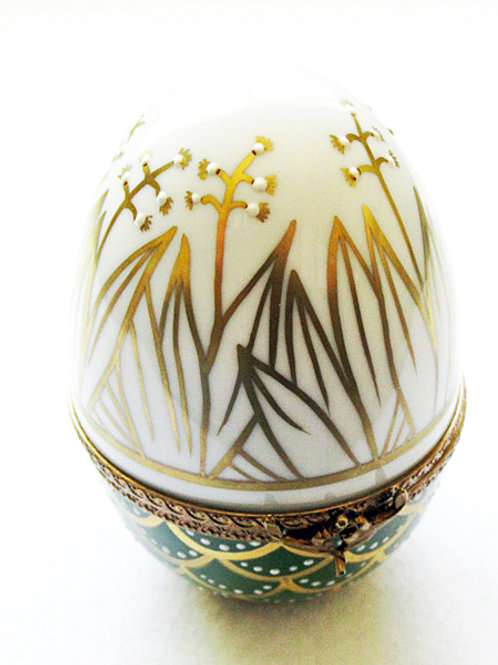 Lily of the Valley design Limoges porcelain hand painted egg