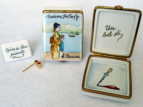Limoges porcelain Madame Butterefly hand painted box