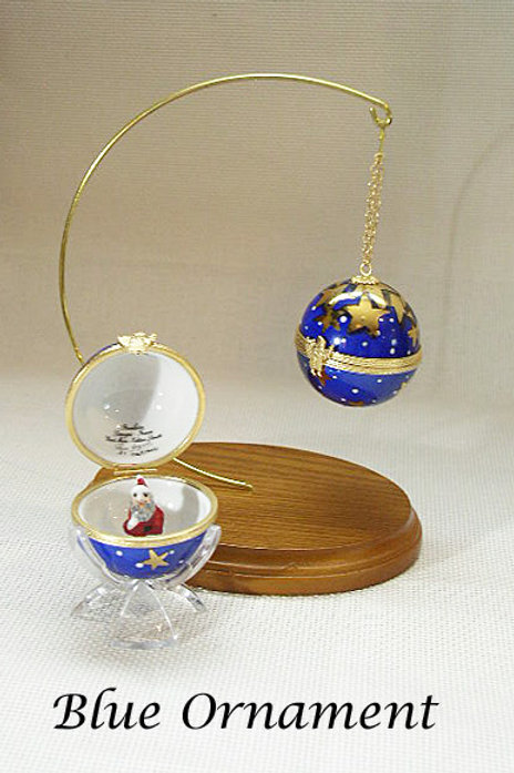 Limoges blue Christmas Ornament with stand