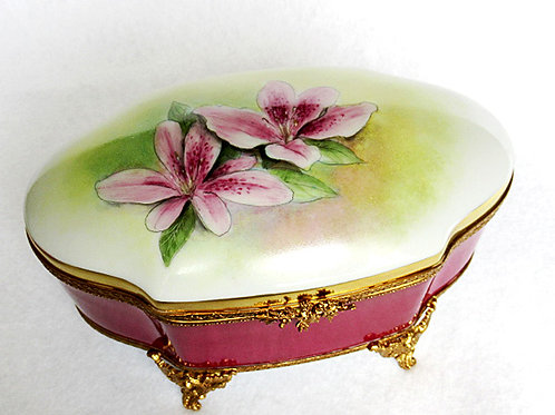 Limoges porcelain hand painted XL jewelry box