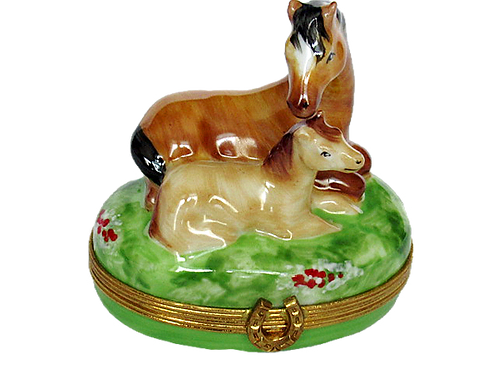HORSE AND FOAL LIMOGES BOX