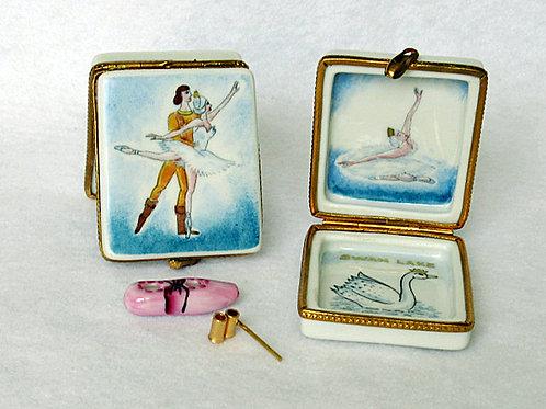 Swan Lake ballet, Limoges hand painted porcelain box