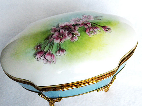 XL Limoges hand painted porcelain jewelry box, Cherry blossom design