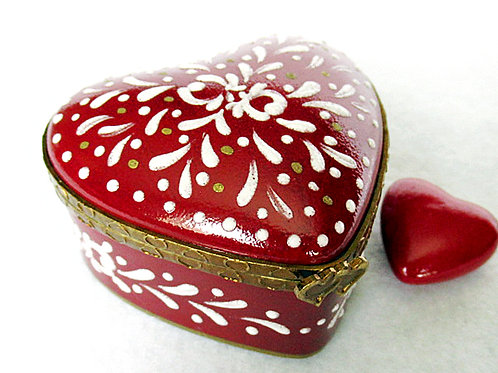 Limoges hand painted red heart box