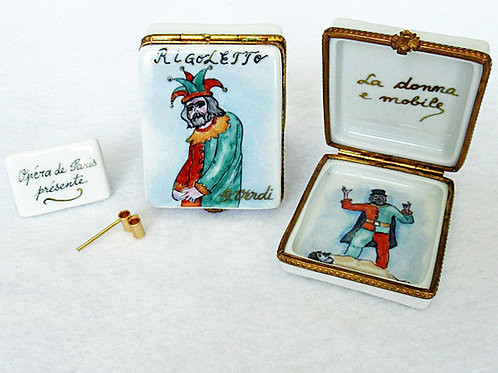 Rigoletto opera hand painted Limoges porcelain box