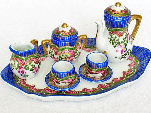 Limoges miniature blue tea set