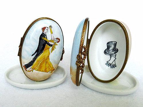 Limoges hand painted Foxtrot ballroom dancing box