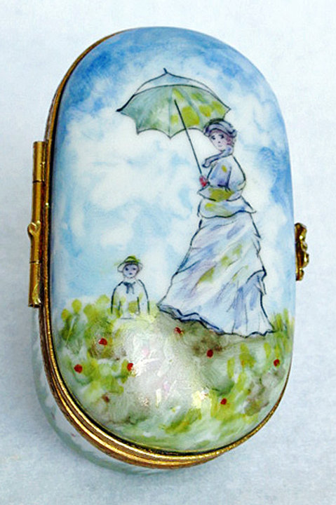 "Limoges hand painted Monet's ""Mme Monet and child"" porcelain box"