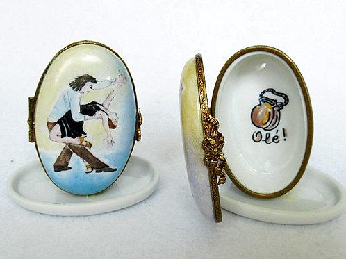 Exclusive Limoges porcelain Paso Doble dance hand painted box