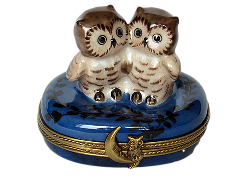 ROMANCING OWLS LIMOGES BOX