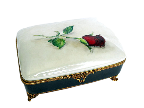 """MANON"" ORCHIDS M LIMOGES JEWELRY BOX"