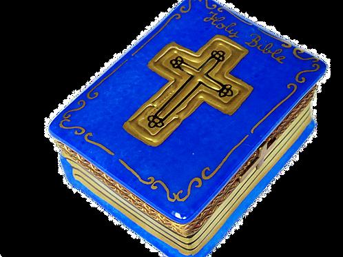 BLUE LIMOGES BIBLE