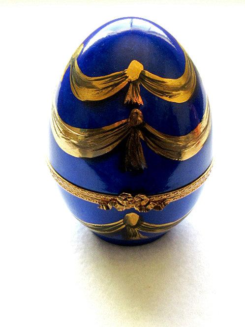 Limoges hand painted XL blue porcelain egg