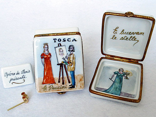 Tosca opera design Limoges hand painted porcelain box